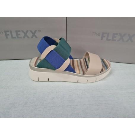 The Flexx Sandali Fonzie, Donna - Art. DS21-D2016.09/BEDEBLU (Beige/Deia/Blue)
