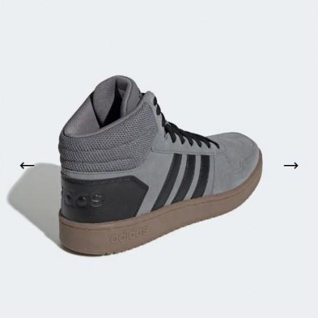 Adidas Scarpe Hoops 2.0 Mid, Uomo Art. EE7367 (Grey FourCore Black)