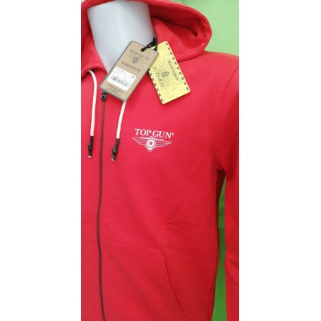 Top Gun® Logo, FELPA CON CAPPUCCIO e ZIP INTERA Uomo - Art. TGD2012-POPPY RED (156)